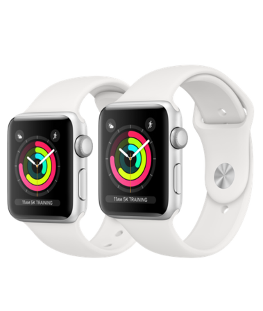 Apple Watch Series 3 GPS 38mm Aluminiumboett i Silver med Sportband i Vitt