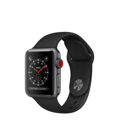 Apple Watch Series 3 GPS + Cellular 38 mm Aluminiumboett i rymdgrått med sportband i svart