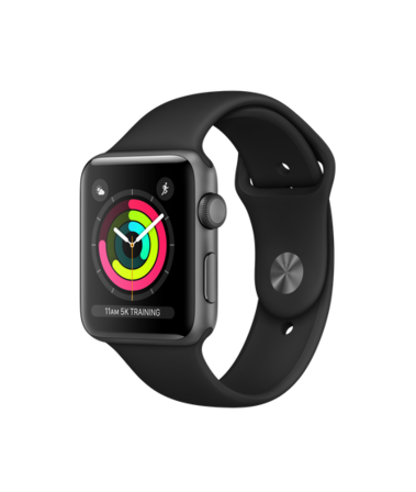 Apple Watch Series 3 GPS + Cellular 42mm Aluminiumboett i Rymdgrått med Sportband i Svart
