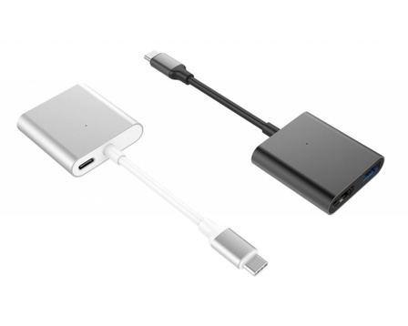 Hyper - HyperDrive 3-in-1 USB-C Hub with 4K HDMI Output (Silver)